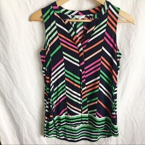 Crown & Ivy Navy Zigzag Striped Sleeveless Top XS